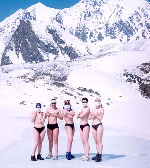 Topless Russian girls in their pants
